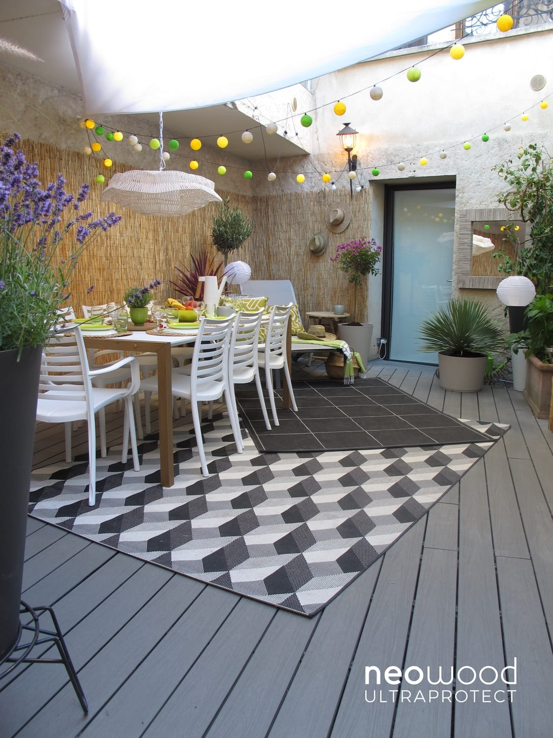 photo terrasse composite gris beton interieur maison